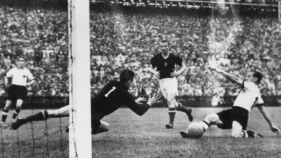 "<strong>West Germany 3-2 Hungary (1954): </strong>A Hungarian side led by <a href=""/2006/SPORT/football/12/09/hungary.puskas/index.html"" target=""_blank"">Ferenc Puskas</a> had trounced the Germans 8-3 in the group stage and so dominant were the ""Mighty Magyars"" 60 years ago they were expected to do the same in the final. But in the ""Miracle in Bern"" a team made up of amateurs from post-war-torn West Germany pulled off a monumental shock."
