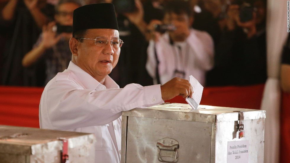 Indonesian presidential candidate Prabowo Subianto casts his ballot at a Bojong Koneng polling station on July 9.