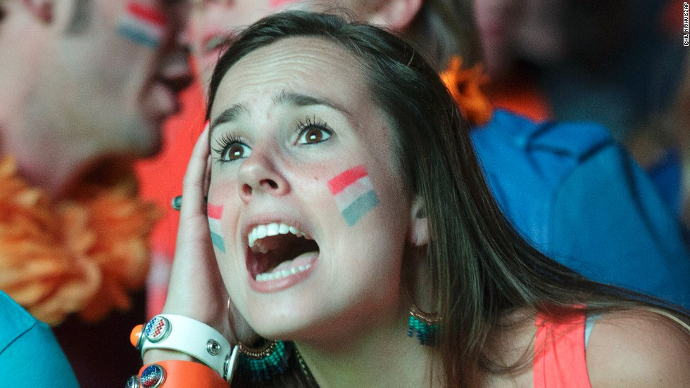 Dutch fans in Eindhoven react while watching the semifinal match.