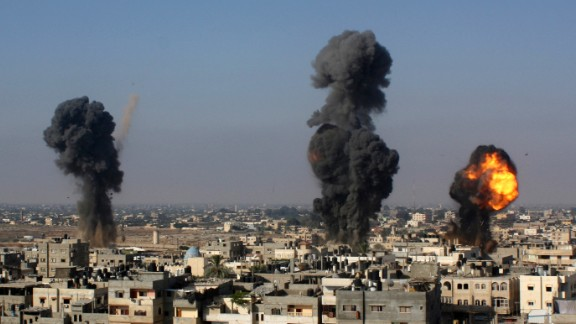 Israeli missiles hit smuggling tunnels between Egypt and Gaza in Rafah, southern Gaza, on July 9, 2014.
