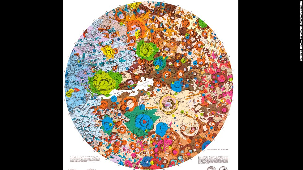 "<em><strong>USGS, 1979</strong></em><br /><br />In the 1960s, the United States Geological Survey started a project to help with NASA's space exploration efforts, including this psychedelic map of the moon's geological makeup. (Unfortunately, most of the other maps are more sober.) <br /><br />What has the USGS been up to lately? It recently created this <a href=""http://www.wired.com/2014/07/new-geologic-map-mars-usgs/"" target=""_blank"">stunning geological map of Mars</a>.<br />"