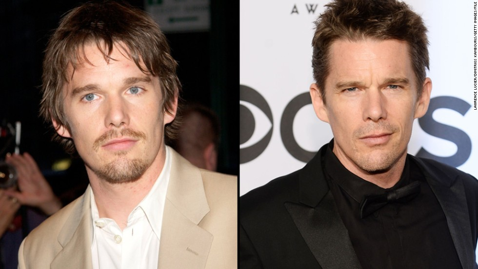 "Ethan Hawke was about 32 when he began working with Linklater on ""Boyhood."" With the movie spanning 12 years, fans can see Hawke go from a fuller-faced 30-something, left, to a more chiseled, seasoned star."