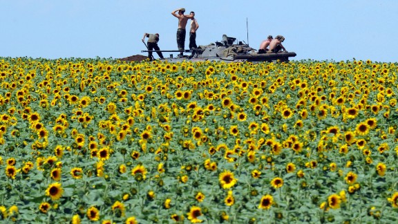 Ukrainian soldiers sit on an armored vehicle as they take up a position in a sunflower field near Donetsk, Ukraine, on Thursday, July 10. Here