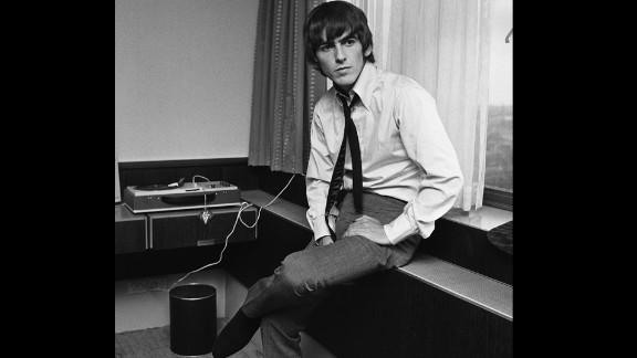 George Harrison at a hotel in Copenhagen, Denmark, in 1964.