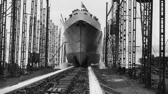 """Cargo ships have come a long way from this hulking vessel, pictured easing down a slipway in Glasgow, Scotland, in 1945. """"If you go maybe 150 years back, a normal cargo vessel had about 250 crew. And it's been reducing ever since -- now we are down to 12 or 15,"""" said Levander."""
