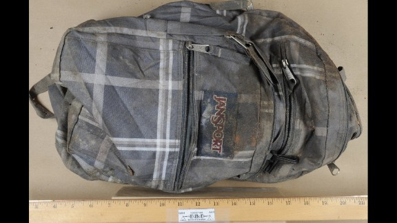 This backpack, belonging to Tsarnaev, was shown during the trials of his friends. The backpack was taken from Tsarnaev's dorm room after the Boston Marathon bombing and tossed in a dumpster. The FBI later found it in a landfill.