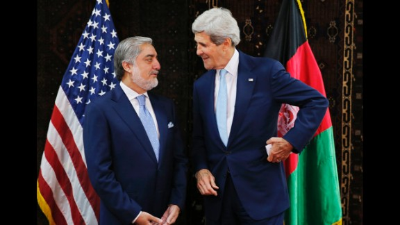 U.S. Secretary of State John Kerry talks with Afghan presidential candidate Abdullah Abdullah, left, at the start of a meeting at the U.S. Embassy in Kabul, July 11, 2014. Kerry sought Friday to broker a deal between Afghanistan