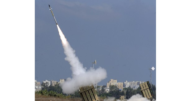 A missile is launched by an 'Iron Dome' battery