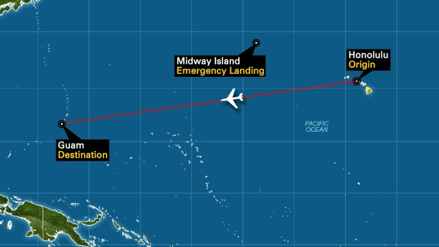 Emergency landing at Midway Island