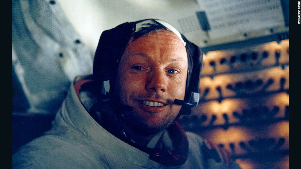 "Neil Armstrong, pictured inside the lunar module, made the ""giant leap for mankind."""