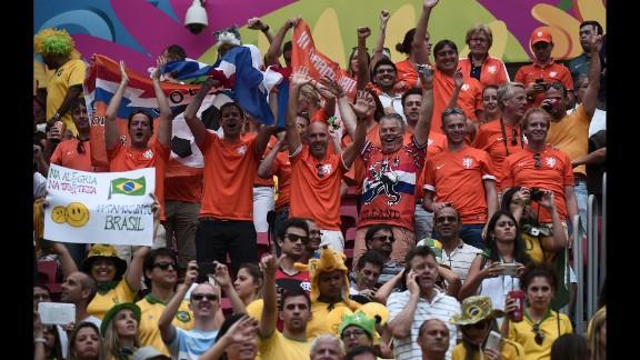 Netherlands fans celebrate a score.