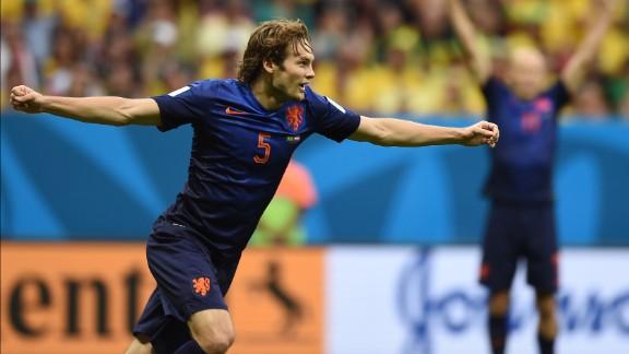 Netherlands defender Daley Blind celebrates after scoring a goal to make it 2-0.