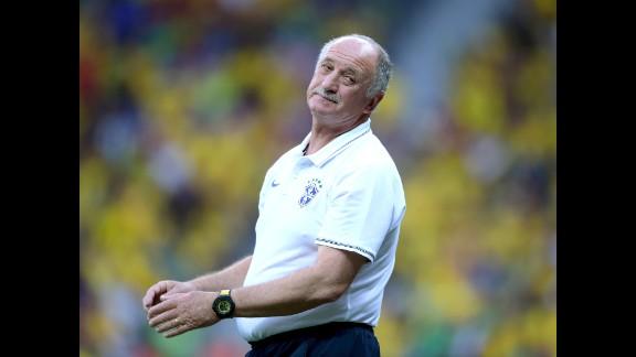 Brazil's head coach Luiz Felipe Scolari reacts during the match.