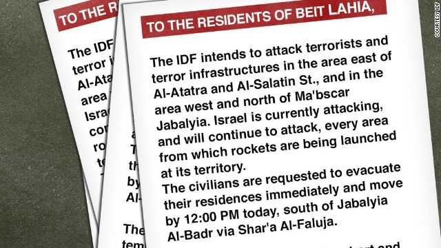 Israel drops warning leaflets on Gaza