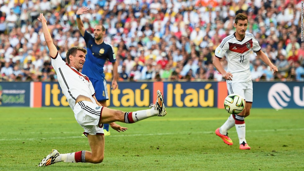 Muller stretches for a cross.