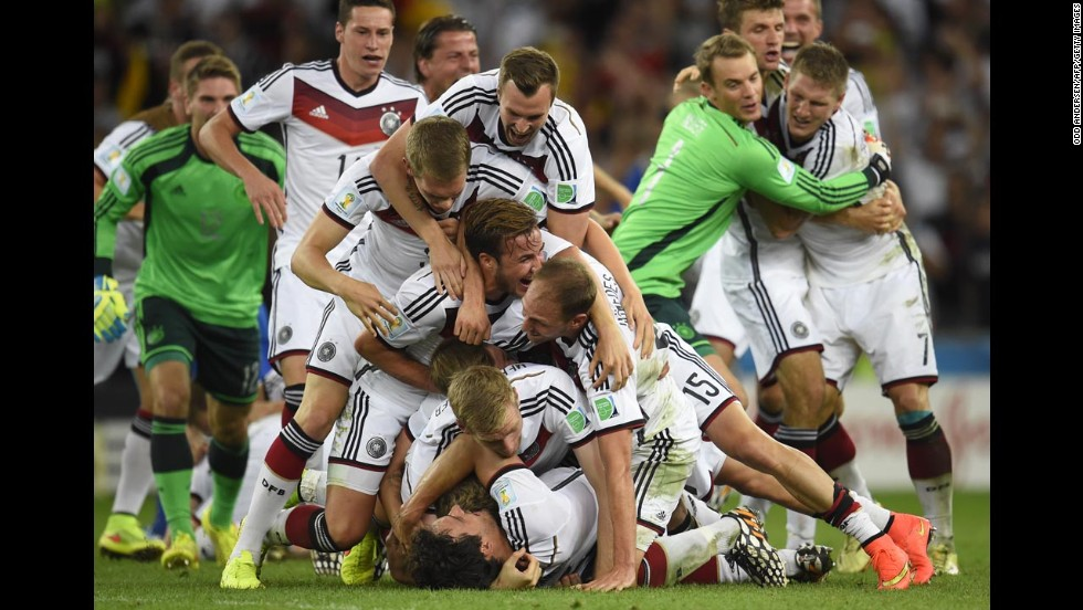German players celebrate after the match.