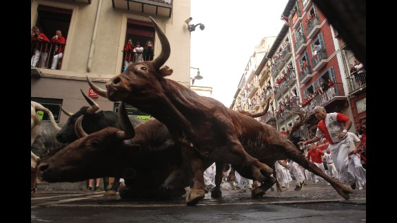 The bull run is 850 meters, or half a mile.
