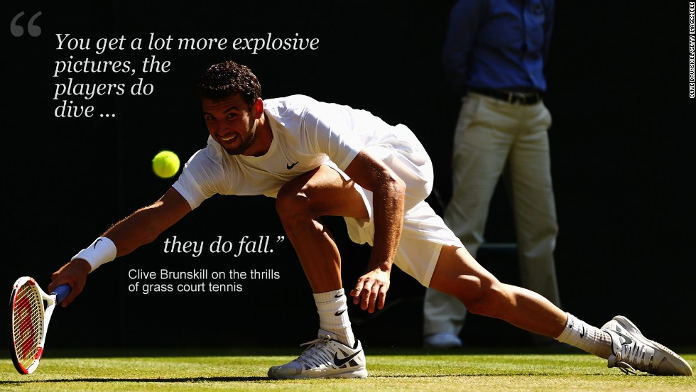 "The speed and versatility on display during the Wimbledon fortnight also makes it an ideal subject for Brunskill.<br /><br />""With grass court tennis it is different and fast and you get a lot more explosive pictures and the players do dive, they do fall,"" he said. <br /><br />""Whereas with hard court tennis at the U.S. Open it's not the same. It's not as exciting to photograph as the grass court."""