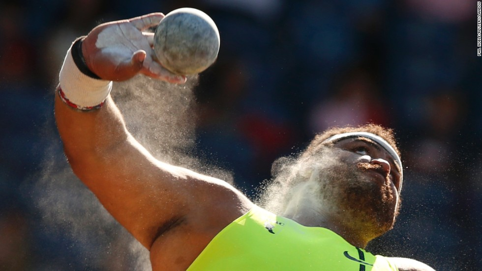 Reese Hoffa of the United States competes in the men's shot put Friday, July 11, at the IAAF Diamond League event in Glasgow, Scotland. Hoffa won with a throw of 21.67 meters (71.1 feet).