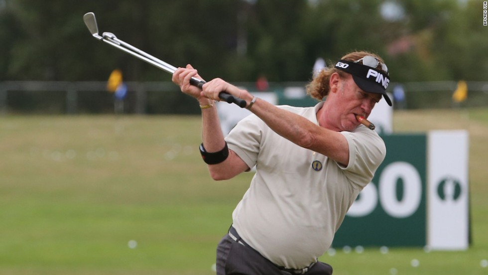 Miguel Angel Jimenez warms up on the driving range prior to a practice round Monday, July 14, at the Royal Liverpool Golf Club in Hoylake, England. The course is hosting the British Open this weekend.