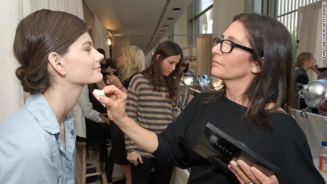 Caption:NEW YORK, NY - SEPTEMBER 12: Make-Up Artist Bobbi Brown works her magic backstage at the Rachel Roy Spring 2012 presentation during Mercedes Benz Fashion Week at Avery Fisher Hall, Lincoln Center on September 12, 2011 in New York City
