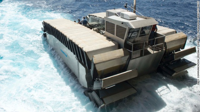 140711-N-UD469-750 PACIFIC OCEAN (July 11, 2014) A half-scale ultra heavy-lift amphibious connector (UHAC), an amphibious connector prototype created by Navatek Ltd. and the Office of Naval Research, departs the amphibious dock landing ship USS Rushmore (LSD 47). The Marine Corps Warfighting lab sponsored this UHAC demonstration during the at-sea phase of Rim of the Pacific (RIMPAC) exercise 2014. Twenty-two nations, more than 40 ships and submarines, more than 200 aircraft and 25,000 personnel are participating in RIMPAC exercise from June 26 to Aug. 1, in and around the Hawaiian Islands and Southern California. The world's largest international maritime exercise, RIMPAC provides a unique training opportunity that helps participants foster and sustain the cooperative relationships that are critical to ensuring the safety of sea lanes and security on the world's oceans. RIMPAC 2014 is the 24th exercise in the series that began in 1971. (U.S. Navy photo by Mass Communication Specialist 2nd Class Amanda R. Gray/Released)