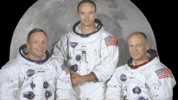 """Apollo 11 crew members, from left, Neil Armstrong, Michael Collins,  and Edwin """"Buzz"""" Aldrin."""