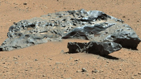"The rover recently encountered this iron meteorite, which NASA named ""Lebanon."" This find is similar in shape and luster to iron meteorites found on Mars by the previous generation of rovers. A portion of the rock was outlined by NASA scientists."