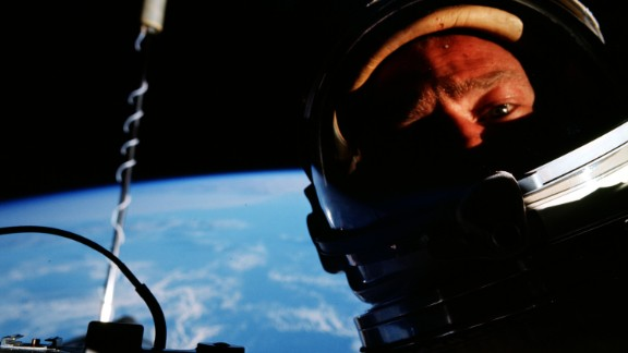 """Buzz Aldrin takes what was probably the first """"space selfie"""" during his Gemini 12 mission in 1966."""