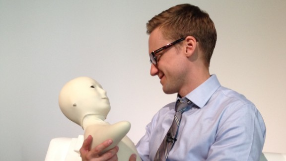 CNN correspondent Will Ripley speaks into the Telenoid, an experimental communication device that allows users to speak to a humanoid face. Users are supposed feel like someone far away is sitting with them.