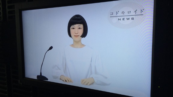 Kodomoroid is an android newscaster that is linked to the web and reads the latest headlines.