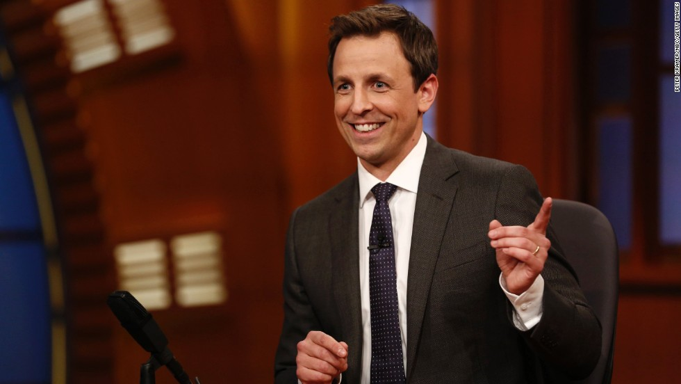 "Seth Meyers hosts ""Late Night"" on NBC. The show was taken over by Fallon after O'Brien left, and Meyers -- a former ""Saturday Night Live"" writer and ""Weekend Update"" anchor -- started hosting it in early 2014."