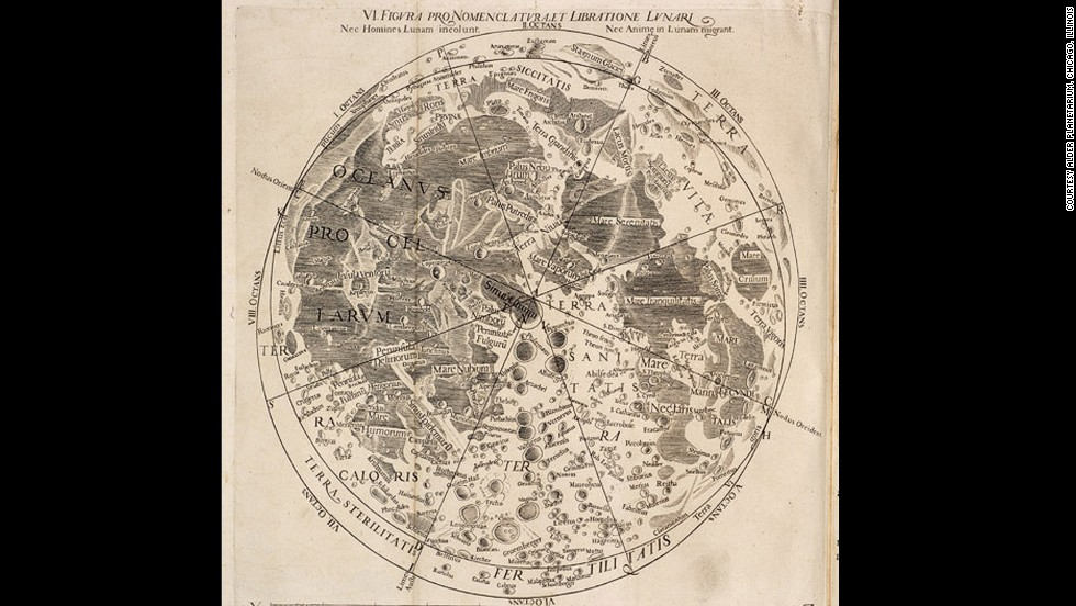 <em><strong>Giovanni Battista Riccioli, 1651</strong></em><br /> <br />While Jesuit astronomer Giovanni Battista Riccioli didn't draw the map himself (that was his student and collaborator Francesco Maria Grimaldi), he did develop its complex nomenclature, much of which is still used today. <br /><br />Most features are named after astronomers, scientists and philosophers associated with the moon. The names are organized chronologically, from north to south, and grouped according to nationality and interest to other categories. Riccioli was also the first to refer to the deep depressions on the moon's surface as <em>maria</em>, or seas -- such as the Mare Tranquillitatis -- Sea of Tranquility.<br />