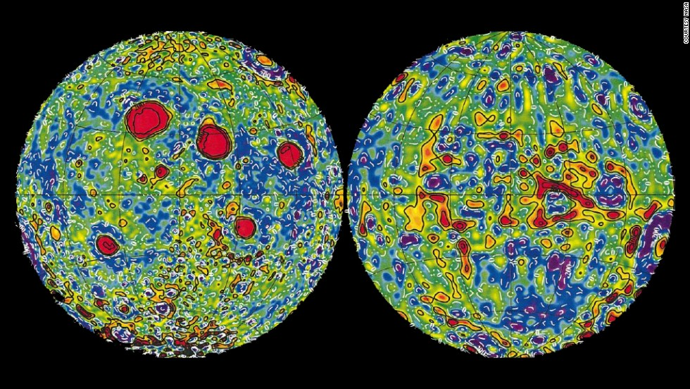 "<strong><em>NASA, 1999</strong></em><br /><br />This NASA map, created by the Lunar Prospector mission, shows how the force of gravity differs across the moon's surface. It's much more powerful around the red spots, which represent ""mascons"" (high concentrations of dense materials beneath the surface)."