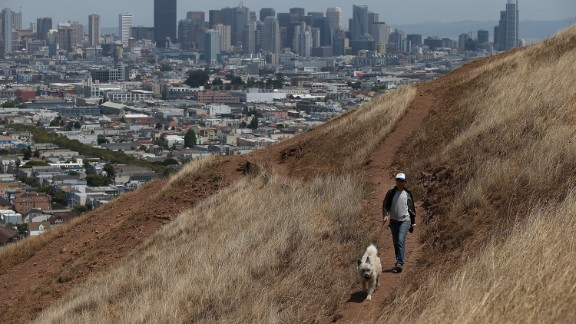 A woman walks her dog in San Francisco in July 2014.