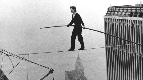 French aerialist Philippe Petit dazzled onlookers below as he walked across a tightrope suspended between the World Trade Center