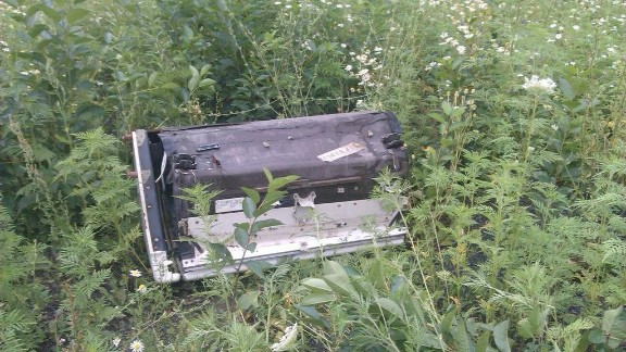 A piece of wreckage believed to be from MH17. This image was posted to Twitter.