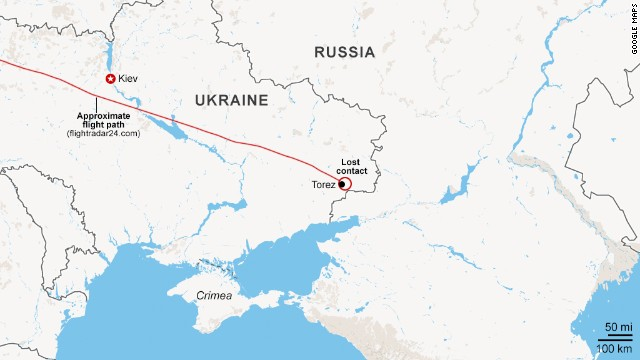 Map: Approximate route of MH17