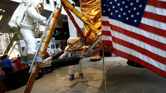 An American flag is part of the display at the Smithsonian