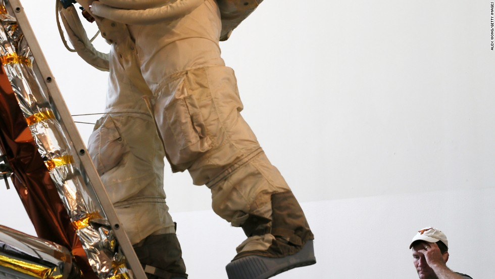 Neil Armstrong's famous moon walk is commemorated at the National Air and Space Museum.