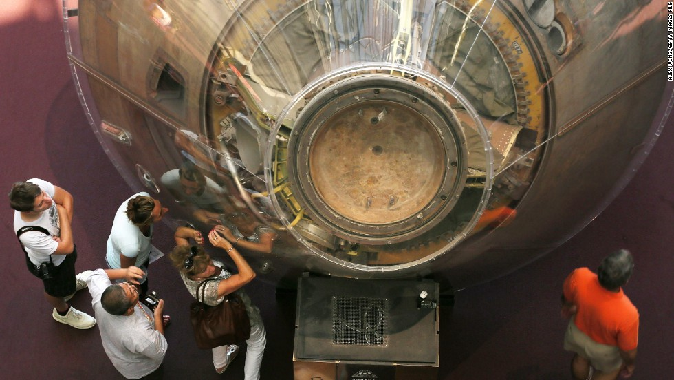 The Apollo 11 command module, now on display at the National Air and Space Museum, was one of three parts of the Apollo spacecraft.