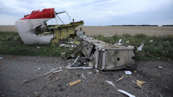 Debris from the Boeing 777, pictured on July 17, 2014.