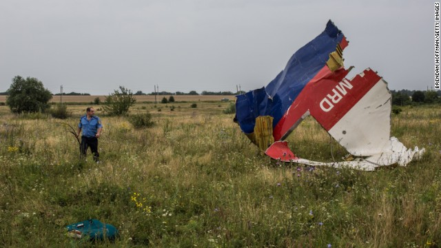 A Ukrainian police officer searches for human remains found in a field on July 18, 2014 in Grabovka, Ukraine.