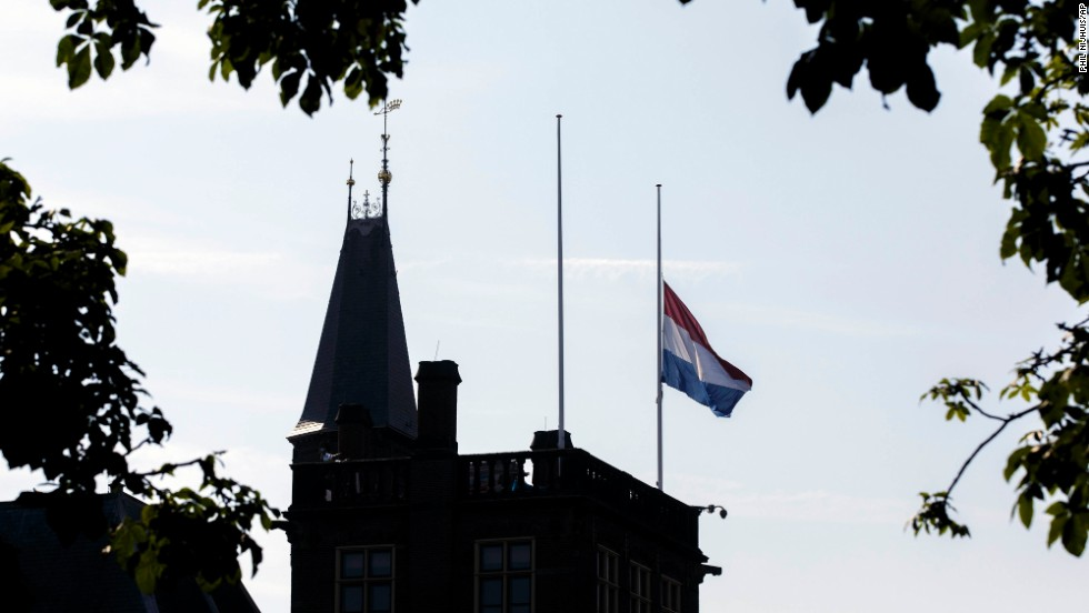 A Dutch flag flies at half-staff in The Hague on July 18.