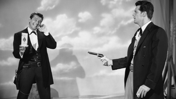 "Garner, right, plays Bret Maverick in a scene from the ""Maverick"" TV series, which aired in the late 1950s and early"