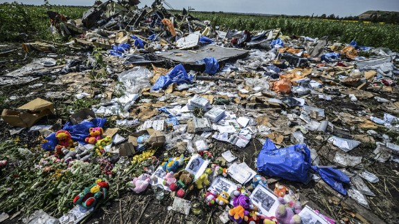 Flowers, soft toys along with pictures are left among the wreckage at the site of the crash of a Malaysia Airlines plane carrying 298 people from Amsterdam to Kuala Lumpur.