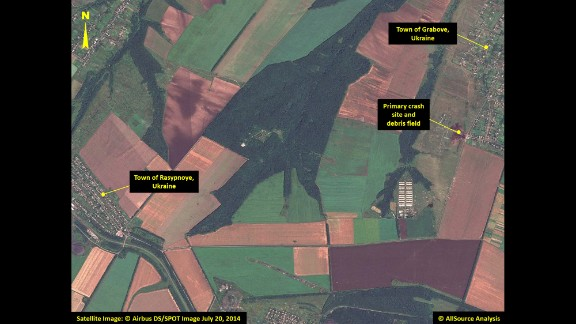 This satellite image shows the primary crash site of Malaysia Airlines Flight 17 between the towns of Hrabove (spelled Grabove in Russian) and Rasypnoye, Ukraine. The Boeing 777 was shot down Thursday, July 17, with a surface-to-air missile in Ukrainian territory controlled by pro-Russian rebels. All 298 people aboard died. The satellite imagery was collected on Sunday, July 20, by Airbus Defense & Space, and was analyzed by AllSource Analysis. Click through to see more of the satellite imagery: