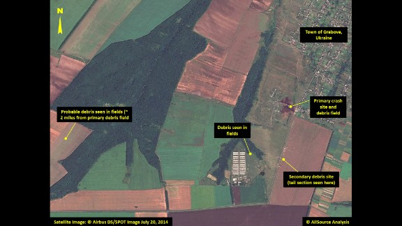 Multiple locations with debris are pointed out in this image, including the site of the plane