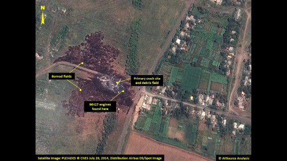 The burned fields of the primary crash site are pictured.