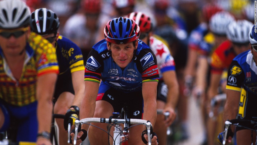 "Mercier says Armstrong, pictured here in a 1998 charity race, was ""the star and one of a kind."""